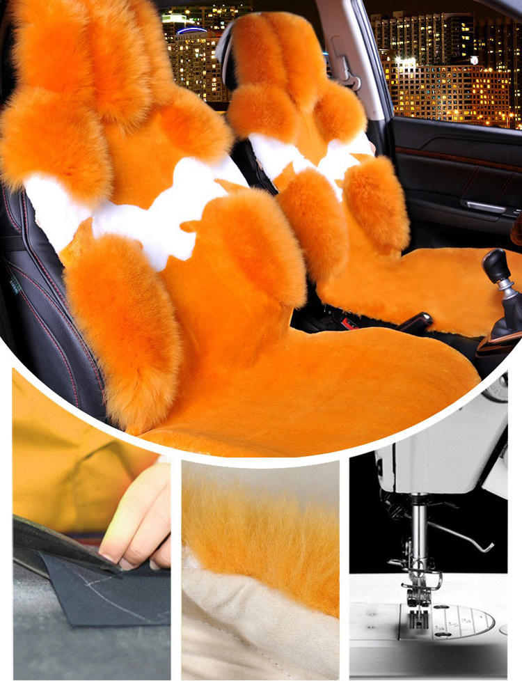 1Piece Front Australia Wool Car Seat Cover Winter Pulvinis Flower Genuine Fur Cushions Pads Plush Mats