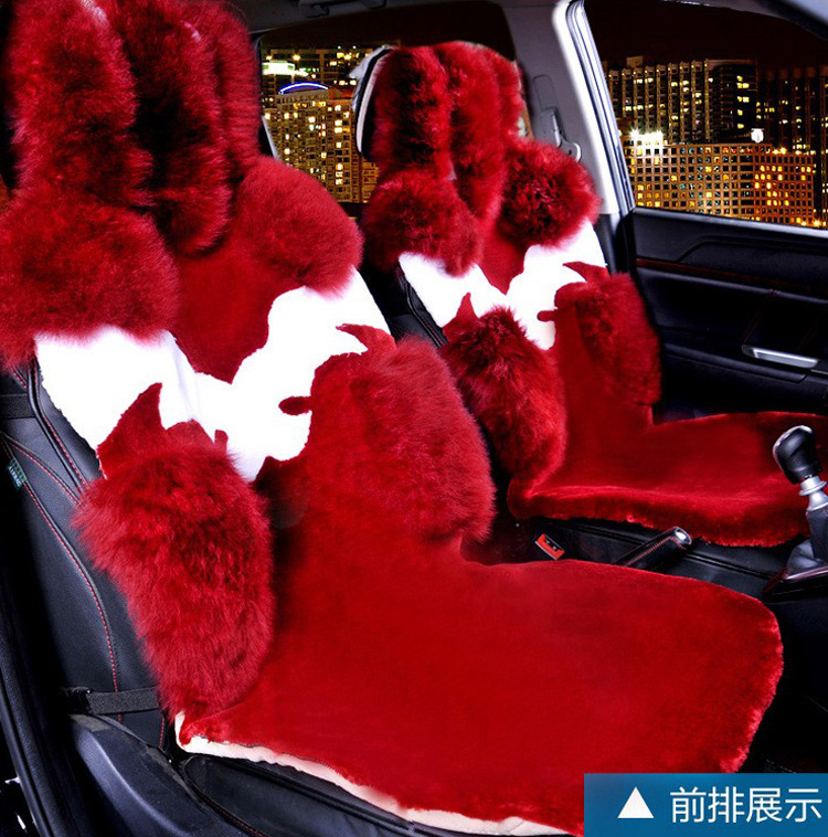 4pcs Australia Wool Car Seat Cover Winter Pulvinis Flower Genuine Fur Cushions Pads Plush Mats