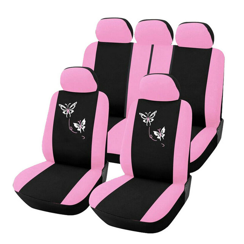 Cute Butterfly Embroidery Universal Car Seat Cover Women Polyester Styling - Pink