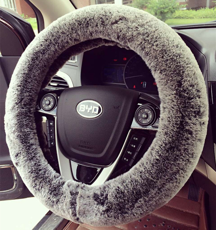 Imitation Rex Rabbit Fur Automobile Steering Wheel Covers Winter Warm Soft Plush 15 Inch