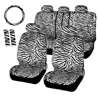 Luxury Short Plush Zebra Stripe Cars Seat Covers Universal Shoulder Pad 12pcs Set - White