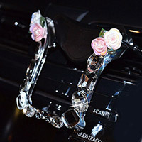 U Shape Flower Car Mobile Phone Holder Crystal Rhinestone Air Vent Mount Clip Stand GPS
