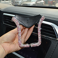 U Shape Universal Car Mobile Phone Holder Crystal Rhinestone Air Vent Mount Clip Stand GPS